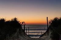 Dune path to Nauset Beach sunrise, Orleans, Cape Cod, Massachusetts, USA
