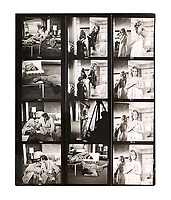 Contact sheet of images showing Sean Connery and Ursula Andress on the set of Dr No