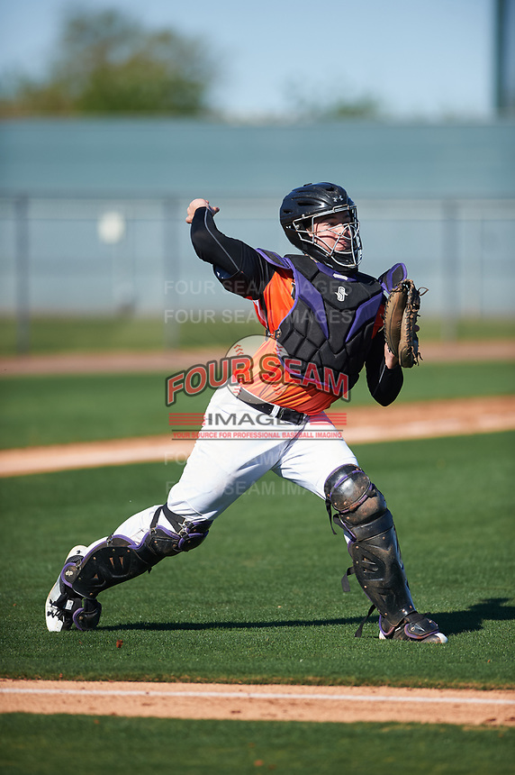 Henry Politz (15) of Jesuit High School in Tampa, Florida during the Baseball Factory All-America Pre-Season Tournament, powered by Under Armour, on January 13, 2018 at Sloan Park Complex in Mesa, Arizona.  (Zachary Lucy/Four Seam Images)