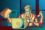 Illustration of businessman multitasking