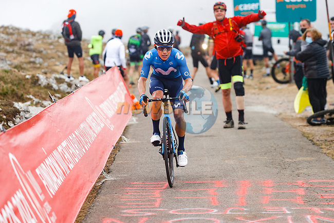 Miguel Angel Lopez Moreno (COL) Movistar Team climbing his way to victory on Stage 18 of La Vuelta d'Espana 2021, running 162.6km from Salas to Alto del Gamoniteiru, Spain. 2nd September 2021.    <br /> Picture: Luis Angel Gomez/Photogomezsport | Cyclefile<br /> <br /> All photos usage must carry mandatory copyright credit (© Cyclefile | Luis Angel Gomez/Photogomezsport)