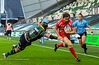29th September 2020; Franklin Gardens, Northampton, East Midlands, England; Premiership Rugby Union, Northampton Saints versus Sale Sharks; Simon Hammersley of Sale Sharks runs in a try in the corner