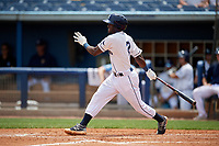 Charlotte Stone Crabs Vidal Brujan (2) bats during a Florida State League game against the Palm Beach Cardinals on April 14, 2019 at Charlotte Sports Park in Port Charlotte, Florida.  Palm Beach defeated Charlotte 5-3.  (Mike Janes/Four Seam Images)
