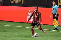ATLANTA, GA - SEPTEMBER 02: Edgar Castillo #19 of Atlanta United FC passes the ball during a game between Inter Miami CF and Atlanta United FC at Mercedes-Benz Stadium on September 02, 2020 in Atlanta, Georgia.