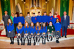 The class of 2020 former students of Nagle Rice NS Milltown receiving their Confirmation in the Church of the Sacred Heart, Milltown on Monday, with Fran Flynn (Teacher), Mary Ellen O'Connor, Fr Danny Broderick and Liam Fells (Principal