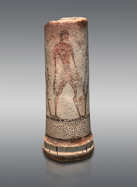 Cycladic cylindrical vase illustrated with a fisherman (1600 BC) , Phylakopi III, Melos. National Archaeological Museum Athens. Cat No 5782.  Grey background.<br /> <br /> <br /> The vase has a procession of 4 fishermen illustrated on iy running all the way round it.