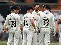 5th July 2021; Emirates Old Trafford, Manchester, Lancashire, England; County Championship Cricket, Lancashire versus Kent, Day 2; James Anderson of Lancashire celebrates after he takes his first wicket in his first over of the day, having Zak Crawley of Kent caught for a duck