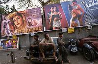 INDIA Mumbai Bombay , cinema poster for Bollywood movies and car garage, copyright (c) Joerg Boethling