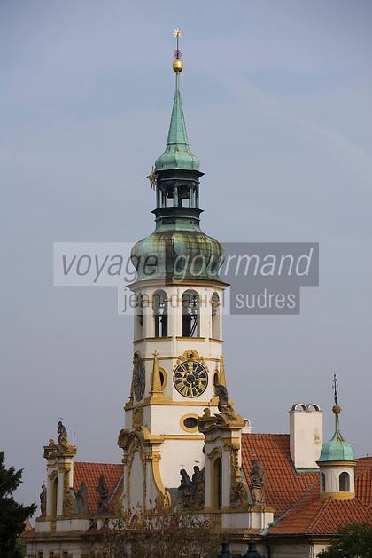 Europe/République Tchèque/Prague:Notre-Dame-de-Lorette -détail du clocher-Architecture baroque il abrite un carillon de 30 cloches -quartier Hradcany