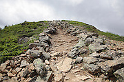 Appalachian Trail (Franconia Ridge Trail) during the summer months in the White Mountains of New Hampshire. Scree walls are built on the edge of the trail corridor to discourage hikers from going off trail. Building these small walls helps protect the fragile alpine habitat.