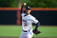 Buies Creek Astros starting pitcher Elieser Hernandez (31) in action against the Wilmington Blue Rocks at Jim Perry Stadium on April 29, 2017 in Buies Creek, North Carolina.  The Astros defeated the Blue Rocks 3-0.  (Brian Westerholt/Four Seam Images)