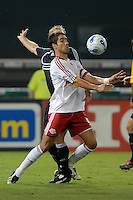 New York Red Bulls forward Juan Pablo Angel (9) chests the ball during the game. DC United defeated the New York Red Bulls 3-1 at RFK Stadium in Washington DC, Thursday August  22, 2007.