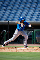 Toronto Blue Jays second baseman Hugo Cardona (4) squares around to bunt during a Florida Instructional League game against the Philadelphia Phillies on September 24, 2018 at Spectrum Field in Clearwater, Florida.  (Mike Janes/Four Seam Images)
