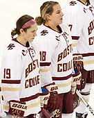 Makenna Newkirk (BC - 19), Toni Ann Miano (BC - 18) - The Boston College Eagles defeated the visiting Boston University Terriers 5-3 (EN) on Friday, November 4, 2016, at Kelley Rink in Conte Forum in Chestnut Hill, Massachusetts.The Boston College Eagles defeated the visiting Boston University Terriers 5-3 (EN) on Friday, November 4, 2016, at Kelley Rink in Conte Forum in Chestnut Hill, Massachusetts.