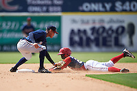 Atlanta Braves Derian Cruz (55) tags out Telmito Agustin (20) sliding into second base during an Instructional League game against the Washington Nationals on September 30, 2016 at Space Coast Stadium in Melbourne, Florida.  (Mike Janes/Four Seam Images)