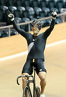 New Zealand's Eddie Dawkins finishes first in the mens keirin final at the UCI Tier 1 Festival of Speed, SIT Zero Fees Velodrome, Invercargill, New Zealand, Saturday, November 16, 2013. Credit:NINZ/Dianne Manson