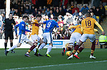 Motherwell v St Johnstone….30.03.19   Fir Park   SPFL<br />Chris Kane is fouled for the penalty by Alex Rodriguez Gorrin<br />Picture by Graeme Hart. <br />Copyright Perthshire Picture Agency<br />Tel: 01738 623350  Mobile: 07990 594431