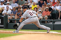 Detroit TIgers first baseman Miguel Cabrera (24) during a game vs. the Chicago White Sox at U.S. Cellular Field in Chicago, Illinois August 13, 2010.   Chicago defeated Detroit 8-4.  Photo By Mike Janes/Four Seam Images