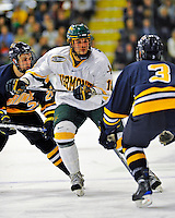 16 November 2008: University of Vermont Catamount forward Viktor Stalberg, a Junior from Gothenburg, Sweden, in action against the Merrimack College Warriors at Gutterson Fieldhouse, in Burlington, Vermont. The Catamounts defeated the Warriors 2-1 in front of a near-capacity crowd of 3,813...Mandatory Photo Credit: Ed Wolfstein Photo