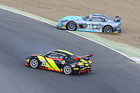 British GT Championship cars of Simpsons Motorsport driven by Nick Jones and Scott Malvern (66), and Stratton Motorsport driven by Robin Shute and Will Hunholz (70) spin out during the British GT Championship Round 1 practice and qualifying at Brands Hatch, Longfield, England on 16 April 2016. Photo by David Horn.