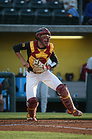 Cris Perez (17) of the Southern California Trojans during a game against the Stanford Cardinal at Dedeaux Field on April 6, 2017 in Los Angeles, California. Southern California defeated Stanford, 7-5. (Larry Goren/Four Seam Images)