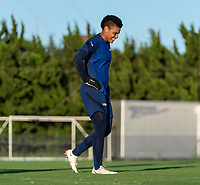 KASHIMA, JAPAN - AUGUST 4: Adrianna Franch #18 of the USWNT laughs during a training session at the practice field on August 4, 2021 in Kashima, Japan.