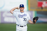 Alex Close (30) of the Burlington Royals warms up in the outfield prior to the game against the Bluefield Blue Jays at Burlington Athletic Stadium on June 28, 2016 in Burlington, North Carolina.  The Royals defeated the Blue Jays 4-0.  (Brian Westerholt/Four Seam Images)