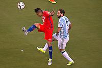 Photo before the match Argentina vs Chile corresponding to the Final of America Cup Centenary 2016, at MetLife Stadium.<br /> <br /> Foto previo al partido Argentina vs Chile cprresponidente a la Final de la Copa America Centenario USA 2016 en el Estadio MetLife , en la foto:(i-d) Gonzalo Jara de Chile y Gonzalo Higuian de Argentina<br /> <br /> <br /> 26/06/2016/MEXSPORT/JAVIER RAMIREZ