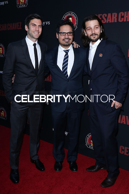 """HOLLYWOOD, LOS ANGELES, CA, USA - MARCH 20: Wes Bentley, Michael Pena, Diego Luna at the Los Angeles Premiere Of Pantelion Films And Participant Media's """"Cesar Chavez"""" held at TCL Chinese Theatre on March 20, 2014 in Hollywood, Los Angeles, California, United States. (Photo by David Acosta/Celebrity Monitor)"""