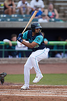 Jonathan Rodriguez (32) of the Lynchburg Hillcats at bat against the Myrtle Beach Pelicans at Bank of the James Stadium on May 22, 2021 in Lynchburg, Virginia. (Brian Westerholt/Four Seam Images)