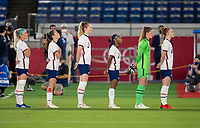 YOKOHAMA, JAPAN - JULY 30: The USWNT stands for the national anthem before a game between Netherlands and USWNT at International Stadium Yokohama on July 30, 2021 in Yokohama, Japan.