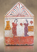 Lucanian fresco tomb painting of the deceased collecting pomegranates. Paestrum, Andriuolo. 3rd Century BC
