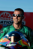Sept. 5, 2010; Clermont, IN, USA; NHRA pro stock motorcycle rider Shawn Gann during qualifying for the U.S. Nationals at O'Reilly Raceway Park at Indianapolis. Mandatory Credit: Mark J. Rebilas-