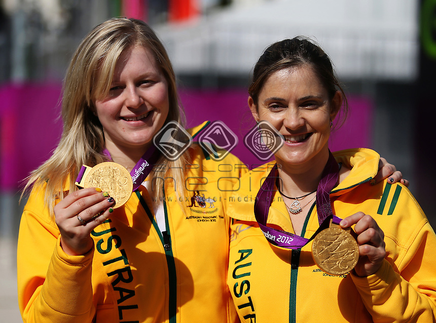 Felicity Johnson (AUS) and Stephanie Morton (AUS) with their gold medals after the women's Individual B 1km Cycling Time Trial.<br /> Track Cycling, Velodrome, Olympic Park (Friday 31st Aug)<br /> Paralympics - Summer / London 2012<br /> London England 29 Aug - 9 Sept <br /> © Sport the library/Joseph Johnson