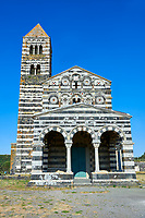 Picture and image of the exterior of the Tuscan Romanesque Pisan style basilica of Santissima Trinita di Saccargia, consecrated 1116, Codrongianos, Sardinia.