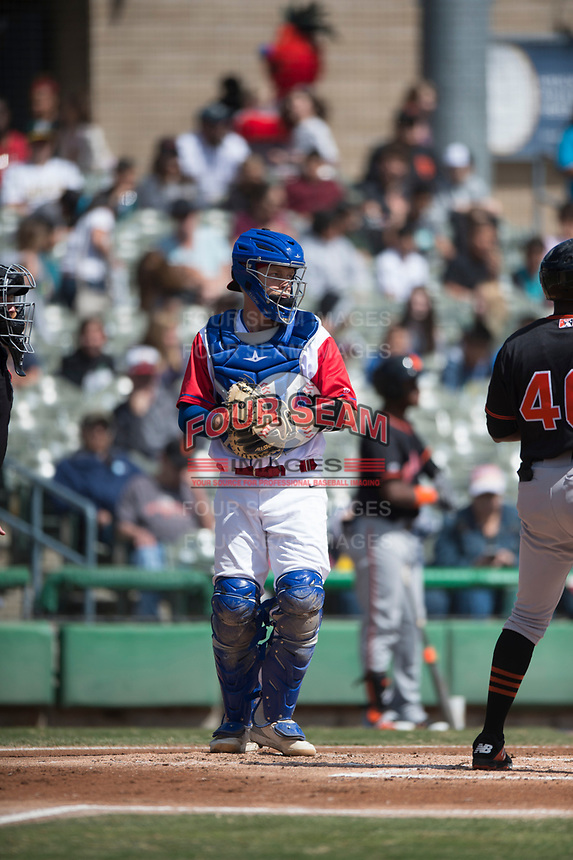 Stockton Ports catcher JJ Schwarz (29) during a California League game against the San Jose Giants on April 9, 2019 in Stockton, California. San Jose defeated Stockton 4-3. (Zachary Lucy/Four Seam Images)