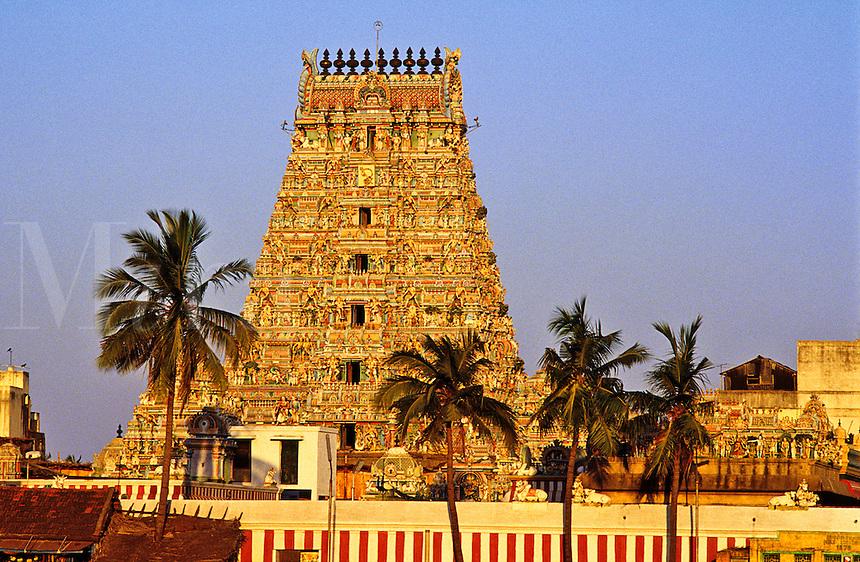 India. Madras/Chennai.  The Gopuram of the Kapaleeswarara Temple at Mylapore.  Hindu temple dedicated to the Godess Shiva.