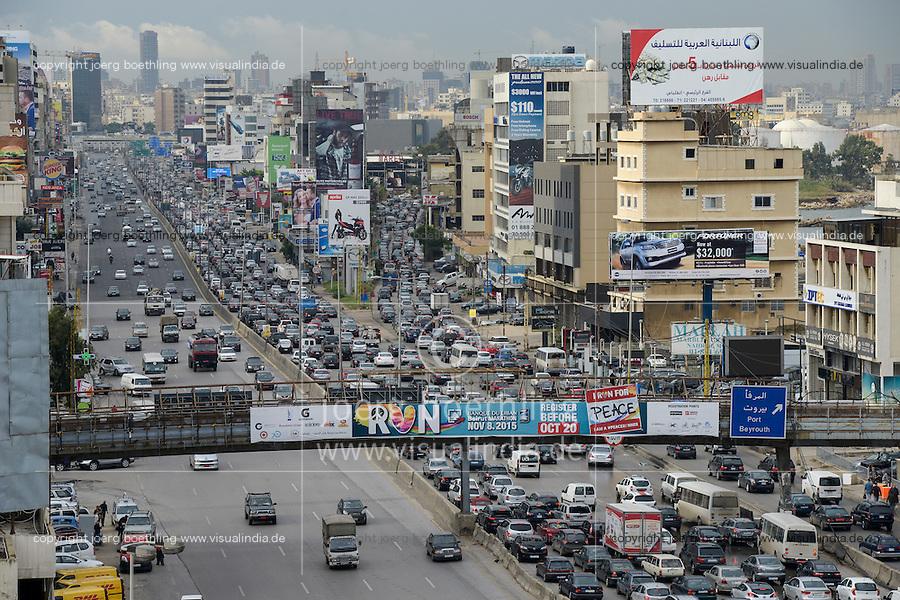 LEBANON, Beirut, heavy traffic on highway to Tripoli, view to city center / LIBANON, Beirut, Autobahn Beirut-Tripoli
