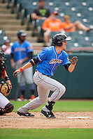 Akron RubberDucks center fielder Bradley Zimmer (6) at bat during the first game of a doubleheader against the Bowie Baysox on June 5, 2016 at Prince George's Stadium in Bowie, Maryland.  Bowie defeated Akron 6-0.  (Mike Janes/Four Seam Images)