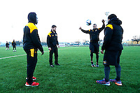 Photo: Richard Lane/Richard Lane Photography. Wasps team run at Stadio Sergio Lanfranchi ahead of their European Champions Cup game against Zebre at Parma. 21/01/2017. (Lt to rt) Christian Wade, Danny Cipriani, Kurtley Beale and Kyle Eastmond.