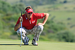 Ian Poulter (ENG) lines up his putt on the 9th green during the morning session on Day 3 of the Volvo World Match Play Championship in Finca Cortesin, Casares, Spain, 21st May 2011. (Photo Eoin Clarke/Golffile 2011)
