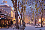 Christmas snow at Quincy Market, Faneuil Hall Marketplace, Boston, MA, USA