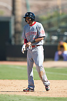 Peoria Javelinas outfielder Billy Hamilton #77, of the Cincinnati Reds organization, during an Arizona Fall League game against the Phoenix Desert Dogs at Phoenix Municipal Stadium on October 12, 2012 in Phoenix, Arizona.  Phoenix defeated Peoria 13-3.  (Mike Janes/Four Seam Images)