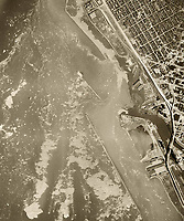 historical aerial photograph of Buffalo, New York, as ice on Lake Erie breaks up, 1959