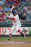 Wearing an Austin Senators throwback uniform, Round Rock Express shortstop Yangervis Solarte (26) at bat during the Pacific Coast League baseball game against the Oklahoma City RedHawks on July 9, 2013 at the Dell Diamond in Round Rock, Texas. Round Rock defeated Oklahoma City 11-8. (Andrew Woolley/Four Seam Images)