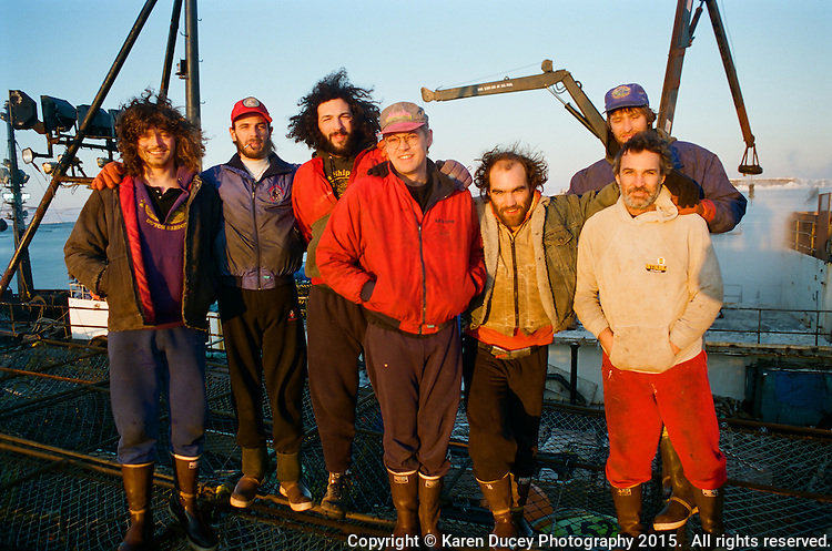 The Northern Orion crew after the Bering Sea oplio crab fishing season ended in March 1995. (photo © Karen Ducey Photography)