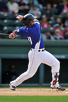 Designated hitter Michael Chavis (11) of the Greenville Drive bats in a game against the Asheville Tourists on Sunday, April 10, 2016, at Fluor Field at the West End in Greenville, South Carolina. Greenville won 7-4. (Tom Priddy/Four Seam Images)