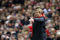 Liverpool Manager Jurgen Klopp gestures to his players during the Barclays Premier League Match between Liverpool and Swansea City played at Anfield, Liverpool on 29th November 2015