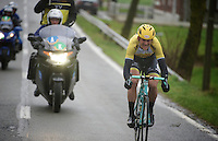 race leader Maarten Tjallingii (NLD/LottoNL-Jumbo) trying to stay ahead<br /> <br /> 77th Gent-Wevelgem 2015