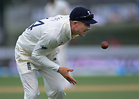 England's Joe Denley passes the ball during day five of the international cricket 2nd test match between NZ Black Caps and England at Seddon Park in Hamilton, New Zealand on Tuesday, 3 December 2019. Photo: Dave Lintott / lintottphoto.co.nz